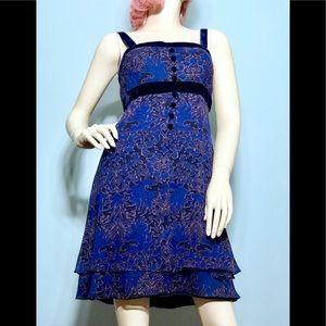 Dresses & Skirts - A. J. BARI • Blue Silk & Velvet Brocade Dress /(6)